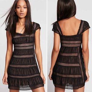 Free People Alicia Lace Mini Dress Black NWT 8